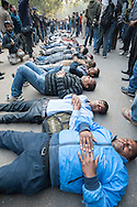 29th Dec. 2012. Protesters stage a die-in at Jantar Mantar, New Delhi. Earlier that day news broke that the victim of a recent gang-rape in the India capital had died of her injuries.