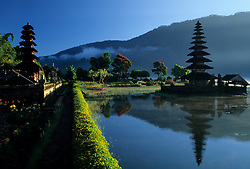 Asia, Indonesia, Bali, Candikuning. Meru thatched-roof pagoda of Pura (Temple) Ulu Danau on Lake Bratan.