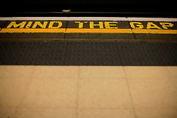 UK ENGLAND LONDON 4NOV12 - Mind the gap warning on the edge of a platform at Piccadilly Circus station on the London Underground, Bakerloo line.<br /><br /> <br /> <br /> <br /> jre/Photo by Jiri Rezac<br /><br /> <br /> © Jiri Rezac 2012