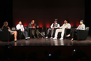"October 20, 2012-New York, NY: (L-R) Producer Lisa Cortes, Vee Bravo, Education Director, Tribeca Film Institute, Actor/Social Activist Harry Belafonte, Hip Hop Living Legend & Recording Artist Grandmaster Melle Mel, Hip Hop Livimg Legend & Co-Founder of Hip Hop Culture Kool Herc and Martha Diaz, Hip Hop Resident-in-Scholar, The Schomburg Center at From Beat Street to These Streets: Hip Hop Then and Now panel discussion and special screening of "" Beat Street"" co-hosted by the Schomburg Center, the Tribeca Youth Screening Series & Belafonte Enterprises and held at The Schomburg Center on October 20, 2012 in Harlem, New York City  (Terrence Jennings)"