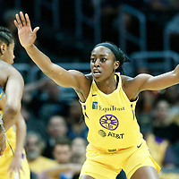 LOS ANGELES, CA - JUN 30: Chiney Ogwumike (13) of the Los Angeles Sparks is seen on defense during a game on June 30, 2019 at the Staples Center, in Los Angeles, California.