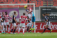 Hamilton&rsquo;s Mikey Devlin heads the balll out if Dundee keeper Scott Bain's hands in the lead uo to the opening goal - Hamilton Academical v Dundee in the Ladbrokes Scottish Premiership at the SuperSeal Stadium, Hamilton, Photo: David Young<br /> <br />  - &copy; David Young - www.davidyoungphoto.co.uk - email: davidyoungphoto@gmail.com