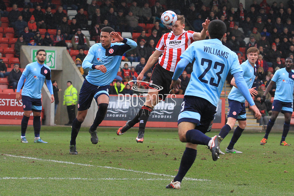Danny Wright scores the opening goal during the Vanarama National League match between Cheltenham Town and Welling United at Whaddon Road, Cheltenham, England on 13 February 2016. Photo by Antony Thompson.