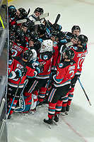 KELOWNA, BC - OCTOBER 16:  The Kelowna Rockets celebrate the overtime win against the Swift Current Broncos at Prospera Place on October 16, 2019 in Kelowna, Canada. (Photo by Marissa Baecker/Shoot the Breeze)