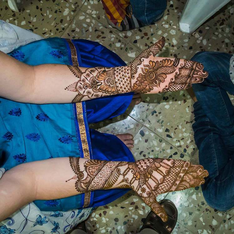 A womans arms and hands after having henna applied in preparation for a Indian / Hindu wedding celebration. Pune, India.