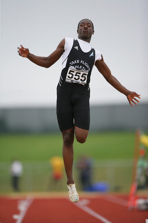 (Charlottetown, Prince Edward Island -- 20090718) Kadeem Douglas of Take Flight Athletics competes in the long jump final at the 2009 Canadian Junior Track & Field Championships at UPEI Alumni Canada Games Place on the campus of the University of Prince Edward Island, July 17-19, 2009.  Geoff Robins / Mundo Sport Images ..Mundo Sport Images has been contracted by Athletics Canada to provide images to the media.