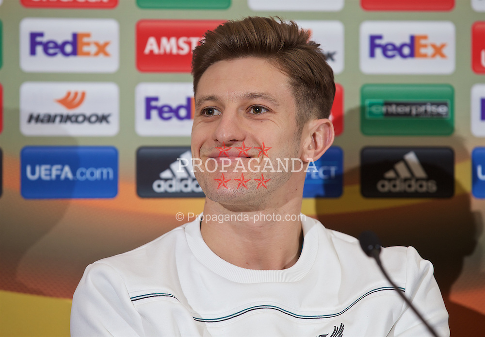 LIVERPOOL, ENGLAND - Wednesday, March 9, 2016: Liverpool's Adam Lallana during a press conference at Melwood Training Ground ahead of the UEFA Europa League Round of 16 1st Leg match against Manchester United FC. (Pic by David Rawcliffe/Propaganda)