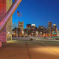 Boston skyline photo showing landmarks such as the Custom House of Boston, One International Place and The Federal Reserve Bank of Boston framed through the industrial and modern Boston Convention and Exhibition Center architecture, photographed on a stunning night at twilight. The BCEC is one of the largest convention and exhibition centers in the Northeast. This Boston skyline photography image is available as museum quality photography prints, canvas prints, acrylic prints or metal prints. Fine art prints may be framed and matted to the individual liking and decorating needs: <br /> <br /> http://juergen-roth.pixels.com/featured/boston-convention-and-exhibition-center-architecture-juergen-roth.html<br /> <br /> All Boston photographs are available for digital and print image licensing at www.RothGalleries.com. Please contact me direct with any questions or request.<br /> <br /> Good light and happy photo making!<br /> <br /> My best,<br /> <br /> Juergen<br /> Prints: http://www.rothgalleries.com<br /> Photo Blog: http://whereintheworldisjuergen.blogspot.com<br /> Twitter: @NatureFineArt<br /> Instagram: https://www.instagram.com/rothgalleries<br /> Facebook: https://www.facebook.com/naturefineart