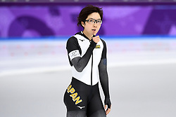 PYEONGCHANG, Feb. 18, 2018  Japan's Nao Kodaira reacts after finishing ladies' 500m final of speed skating at the 2018 PyeongChang Winter Olympic Games at Gangneung Oval, Gangneung, South Korea, Feb. 18, 2018. Nao Kodaira claimed champion in a time of 36.94 and set a new Olympic record. (Credit Image: © Ju Huanzong/Xinhua via ZUMA Wire)