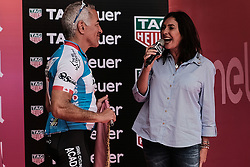 May 4, 2018 - Jerusalem, Israel - Ms. MIRI REGEV, Minister of Culture and Sport, welcomes participants and spectators as the 101st edition of Giro d'Italia, the Corsa Rosa, begins today in Jerusalem, history being made with the first ever Grand Tour start outside of Europe. Competing riders set out for the 9.7Km Jerusalem Individual Time Trial Stage 1. (Credit Image: © Nir Alon via ZUMA Wire)