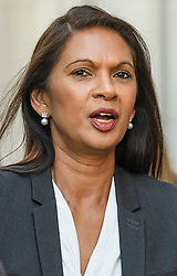 © Licensed to London News Pictures. 19/09/2019. London, UK. Businesswoman GINA MILLER is seen leaving the The Supreme Court in London on day three of an appeal against a judicial review of Boris Johnson's suspension of Parliament. The case has been brought by remain campaigner Gina Miller, with support from former British Prime Minister John Major. Photo credit: Ben Cawthra/LNP
