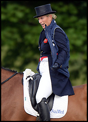 A pregnant Zara Phillips ridding her horse High Kingdom in the guinea pig test for the judges in the Dessage event at the Festival of British Eventing at <br /> Gatcombe Park, Glouchestershire, United Kingdom.<br /> Saturday, 3rd August 2013<br /> Picture by Andrew Parsons / i-Images