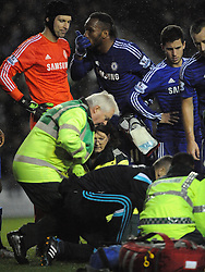 Chelsea Didier Drogba Shows his concern, of team mate Kurt Zouma, after his collision with Derby Richard Keogh, Derby County v Chelsea, Capital One Cup Quarter Final, Score Derby 1(Bryson),  Chelsea 3 (Hazard, Luis, Schurrle) Pride Park Tuesday 16th December 2014