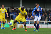 AFC Wimbledon striker Tom Elliott (9) and Rochdale FC midfielder Matthew Lund (8)  during the EFL Sky Bet League 1 match between Rochdale and AFC Wimbledon at Spotland, Rochdale, England on 27 August 2016. Photo by Stuart Butcher.