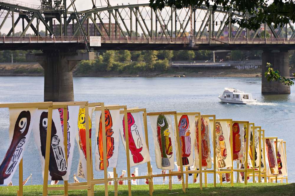 The Freshwater Trust Oregon Trout Portland Triathlon started in ideal conditions, under beautiful fall sunshine, on the Willamette River in downtown Portland.  23 August 2009.  The Freshwater Trust is a not-for-profit organization that works to preserve and restore freshwater ecosystems through water health and fish recovery, under the Clean Water & Endangered Species Acts.