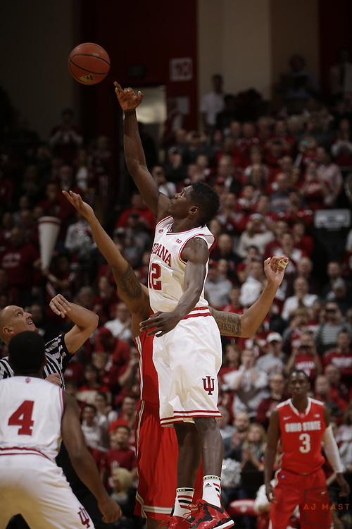 Indiana forward Hanner Mosquera-Perea (12) as Ohio State played Indiana in an NCCA college basketball game in Bloomington, Ind., Saturday, Jan. 10, 2015. (AJ Mast)