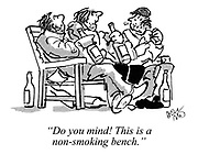 """Do you mind! This is a non-smoking bench."""