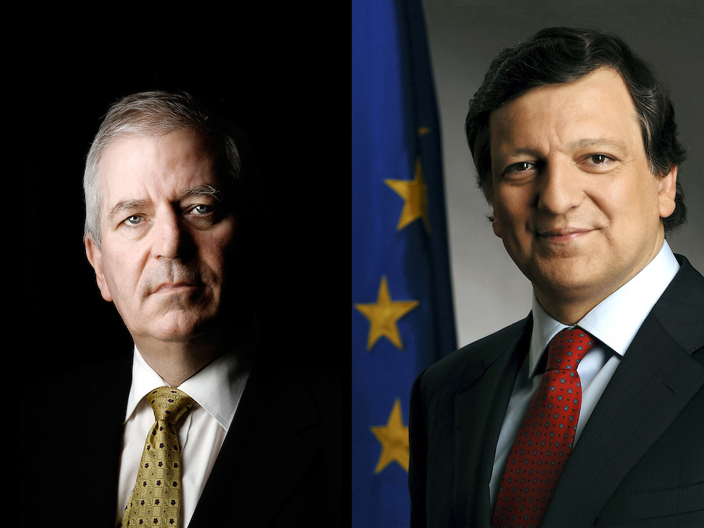 Brussels, Belgium<br /> EU Commissioner Charlie McCreevy and EU Commission President Jose Barroso<br /> Photo: Ezequiel Scagnetti