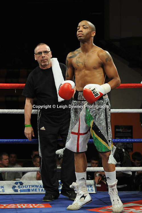 Karl Place defeats Michael Grant (pictured with trainer Johnny Eames) for a 6 x 3 min round Light Welterweight contest at Olympia, Liverpool on the 11th June 2011. Frank Maloney Promotions.Photo credit: Leigh Dawney 2011