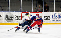 2019-10-13   Tyringe, Sweden: Tyringe SoSs (57) Melker Persson trying to stop Halmstad Hammers (24) Alexander Klarin during the game between Tyringe SoSs and Halmstad Hammers at Tyrs Hov (Photo by: Jonathan Persson   Swe Press Photo)<br /> <br /> Keywords: Tyrs Hov, Tyringe, Hockeyettan, Hockeyettansödra, Tyringe SoSs, Halmstad Hammers, (Match code th191013)