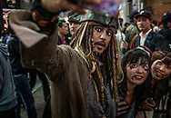 A selfie with a Johnny Depp doppelganger at Tokyo's massive Halloween celebration in Shibuya.  Tokyo, Japan