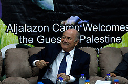 19.05.2015, Ramallah, PSE, FIFA Präsident Blatter besucht Palästina, im Bild der FIFA PRäsident Sepp Blatter bei seinem Palästina Besuch // FIFA president Joseph Blatter smiles to media during his visit to Jalazoun refugee camp, near the West Bank city of Ramallah. Blatter hopes to head off a Palestinian call for a vote to expel Israel from football's governing body but that Israel must make a concession, Palestine on 2015/05/19. EXPA Pictures © 2015, PhotoCredit: EXPA/ APAimages/ Shadi Hatem<br /> <br /> *****ATTENTION - for AUT, GER, SUI, ITA, POL, CRO, SRB only*****