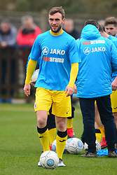 SHANE BYRNE BRACKLEY TOWN WARM UP BEFORE KICK OFF, Wealdstone FC v Brackley Town Buildbase FA Trophy Semi Final 2nd Leg, Saturday 24th March 2018, Score 0-2 (Byrne, Williams,) <br /> Photo:Mike Capps
