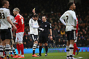 Fulham defender, Fernando Amorebieta (45) yellow card during the Sky Bet Championship match between Fulham and Charlton Athletic at Craven Cottage, London, England on 20 February 2016. Photo by Matthew Redman.