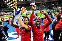 Victoire du PSG / Edinson CAVANI / Blaise MATUIDI   - 11.04.2015 -  Bastia / PSG - Finale de la Coupe de la Ligue 2015<br />Photo : Dave Winter / Icon Sport