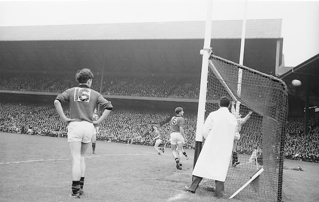 Goalie kick out during the All Ireland Minor Gaelic Football Final Mayo v. Down in Croke Park on the 25th September 1966.