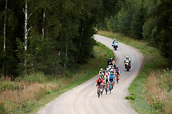 The leaders approach on the third gravel sector during Postnord UCI WWT Vårgårda WestSweden Road Race, a 145.3 km road race in Vårgårda, Sweden on August 18, 2019. Photo by Sean Robinson/velofocus.com