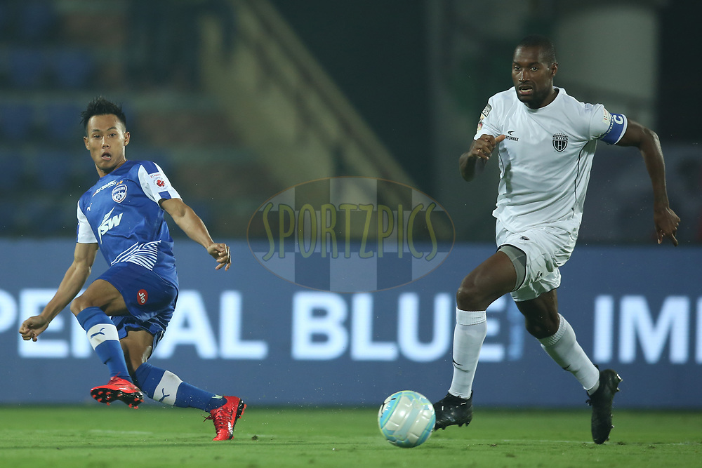 Udanta Singh Kumam of Bengaluru FC and Jose Julio Goncalves of Northeast United FC in action during match 19 of the Hero Indian Super League between NorthEast United FC and Bengaluru FC held at the Indira Gandhi Athletic Stadium, Guwahati India on the 8th December 2017<br /> <br /> Photo by: Deepak Malik  / ISL / SPORTZPICS