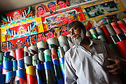 Rickshaw paintings and material in a shop located in Old Dhaka (Dhaka, Bangladesh) where workshops come to find what they need.