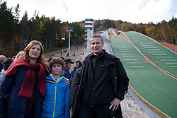 Zlata Tepes, Jon Tepes and Miran Tepes during Slovenian summer national championship and opening of the reconstructed Bloudek's hill in Planica on October 14, 2012 in Planica, Ratece, Slovenia. (Photo by Matic Klansek Velej / Sportida)