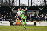 Forest Green Rovers Charlie Clough(5) heads the ball clear during the Vanarama National League match between Bromley FC and Forest Green Rovers at Hayes Lane, Bromley, United Kingdom on 7 January 2017. Photo by Shane Healey.