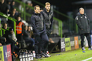 Forest Green Rovers head coach, Mark Cooper and Forest Green Rovers Matt Mills(5) during the Leasing.com EFL Trophy match between Forest Green Rovers and Coventry City at the New Lawn, Forest Green, United Kingdom on 8 October 2019.