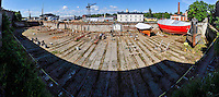 Finland, Helsinki. Dry dock on Suomenlinna. Stitched panorama.
