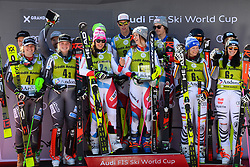 March 15, 2019 - Grandvalira, Andorra - The teams from Norway (right, 2nd place) , Switzerland (center, winner) and Germany (right, 3rd place) on the podium after the Alpine Team Event race at the FIS World Cup Finals in El Tarter, Andorra. (Credit Image: © Christopher Levy/ZUMA Wire)