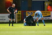 Coventry's midfielder Liam Kelly gets injured during the EFL Sky Bet League 2 match between Stevenage and Coventry City at the Lamex Stadium, Stevenage, England on 21 November 2017. Photo by Matt Bristow.