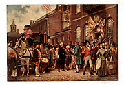 George Washington's inauguration at Philadelphia by Jean Leon Gerome Ferris. 1863-1930. Print shows George Washington arriving at Congress Hall in Philadelphia, March 4, 1793.