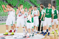 Players of Union Olimpija after the basketball match between KK Union Olimpija Ljubljana and KK Helios Domzale in Game #1 of Slovenian National Championship - Telemach League 2012/2013, on March 27, 2013, in Arena Stozice, Ljubljana, Slovenia. Union Olimpija defeated Helios Domzale 77-63. (Photo by Vid Ponikvar / Sportida.com)