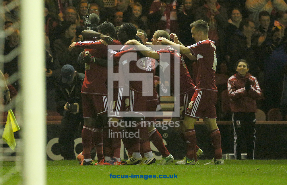 Picture by Paul Gaythorpe/Focus Images Ltd +447771 871632.09/11/2012.Middlesbrough players celebrate Justin Hoyte goal during the npower Championship match at the Riverside Stadium, Middlesbrough.