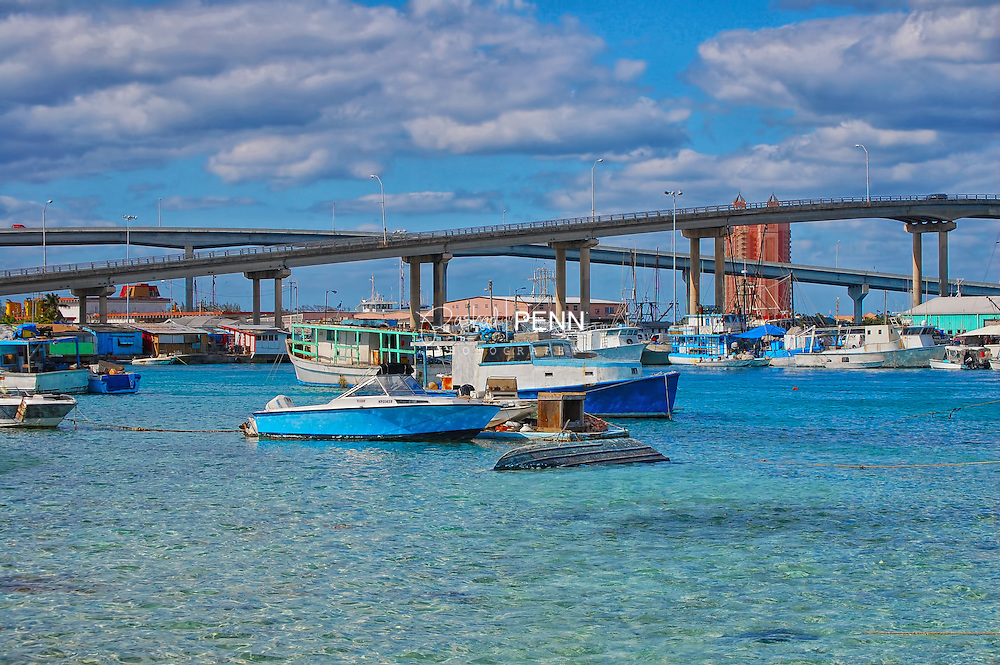 Boats anchored in the safe Nassau harbour nearby the Sydney Poiter and Paradise Island bridges.