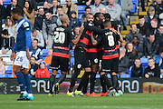Queens Park Rangers midfielder Matt Phillips celebrates scoring the opening goal during the Sky Bet Championship match between Birmingham City and Queens Park Rangers at St Andrews, Birmingham, England on 17 October 2015. Photo by Alan Franklin.