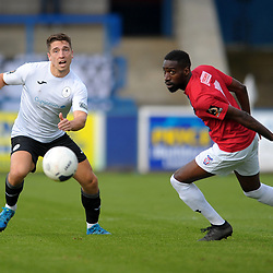 TELFORD COPYRIGHT MIKE SHERIDAN Adam Walker of Telford and Adriano Moke of York during the National League North fixture between AFC Telford United and York City at the New Bucks Head on Saturday, October 12, 2019.<br /> <br /> Picture credit: Mike Sheridan<br /> <br /> MS201920-025