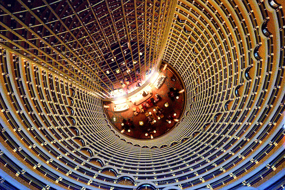 The Atrium, part of the Grand Hyatt Hotel.  The highest hotel in the world, it is situated inside the Jin Mao Tower, Shanghai.