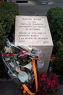Roma 30  Settembre 2008.Manifestazione in ricordo di Walter Rossi ucciso dai fascisti il 30 Settembre 1977,La lapide nel punto dove è stato ucciso.Rome September 30, 2008.Manifestation in memory of Walter Rossi, killed by the fascists the September 30, 1977.