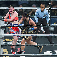 Female boxer Alicia Napoleon (R) fights Femke Hermans during the WBC Heavyweight Championship boxing match at Barclays Center on Saturday, March 3, 2018 in Brooklyn, New York. (Alex Menendez via AP)