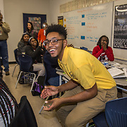 WASHINGTON,DC - MAR18: Matthew Jenkins, a senior at KIPP DC College Preparatory, was surprised at school with a hand-delivered acceptance letter and full scholarship to attend George Washington University, March 18, 2015, through the Stephen Joel Trachtenberg Scholarship program. (Photo by Evelyn Hockstein/For The Washington Post)