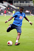 Crystal Palace attacker, Wilfried Zaha (11) warming up during the Pre-Season Friendly match between Fulham and Crystal Palace at Craven Cottage, London, England on 30 July 2016. Photo by Matthew Redman.